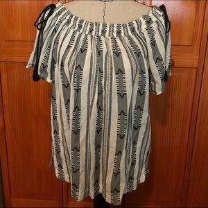 Loft off-shoulder blouse with tassel details